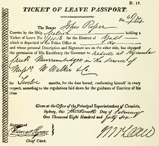 NSW Colonial Government - Convict Ticket of Leave Passport
